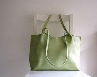 Lime / Light Green Leather Tote Shoulder Bag