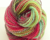 Fractal Hand Spun Yarn, Two Ply Hand Spun Yarn, Hand Dyed Fractal Yarn, DK Weight Hand Spun Yarn, Ukraina 128 yards 1.7 ozs
