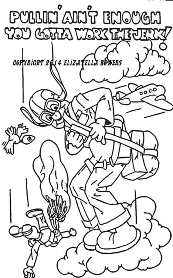 parachute man adult coloring page image graphics digital download funny comics aviation planes sky diving digital stamp digi stamp