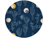 Indigo Cactus Crib Sheets, Changing Pad Covers, Indie Fabric Printed Just for You