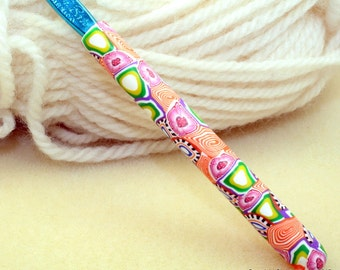 Polymer clay crochet hook, new size H8 or 5.00mm, Susan Bates brand, handmade design, ready to ship