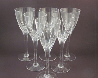 vintage stuart crystal wine glasses set of six geneva pattern