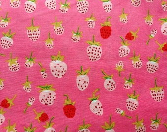 Heather Ross Briar Rose Strawberries in Pink