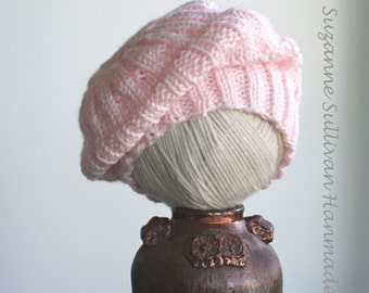 Baby Slouch Beanie, Baby Slouch Hat,  Soft PinkSlouch Beanie, Pink Hand Knitted Baby Slouch Beanie, 2 to 9 Month Old