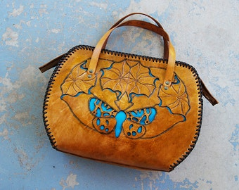 Tooled Leather Purse - Tiger Moth and Datura Large Cutwork Brown Leather Bag - Custom Made to Order