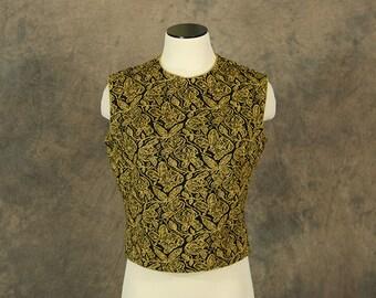 vintage 60s Blouse - 1960s Sparkle Gold Lurex Shell Sleeveless Sweater Sz M L