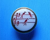 Le Chic Vintage White Milk Glass Button Hand Painted Red Birds On Wires Gold Luster Rim
