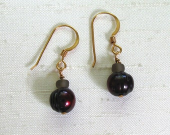 Pearl Earrings: Cranberry Freshwater Pearls Wire-Wrapped Dangle Earrings w/14Kt GF Ear Hooks