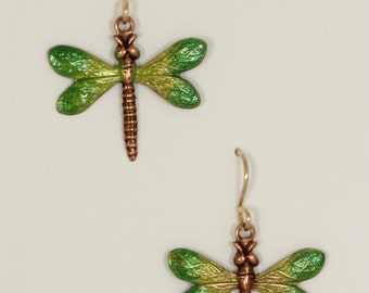 Copper dragon fly enamel on 14k gold posts