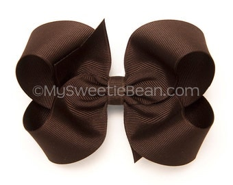 "Brown Hair Bow, 4 inch Boutique Bow, Chocolate Brown Bow, 4"" Hair Bow for Toddlers, Girls, Babies, Grosgrain Hairbow for Girls, Warm Brown"
