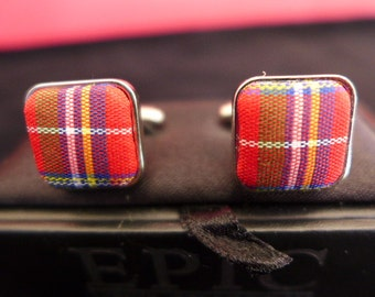 1990s Vintage Plaid Red Square Cuff Links