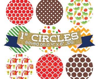 "Garden Bottlecap Images Digital Collage Sheet 4 x 6 with 1"" Circles Polka Dots Chevron Vegetables"