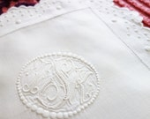 European Monogrammed Pillow Sham, 1930s Pillowcase, Hand Embroidered Pillow Sham, Exquisite European Sham