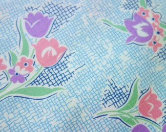1930-40s Feedsack Fabric, Blue Feedsack Fabric, Tulip Feedsack Fabric, Feedsack Quilt Fabric