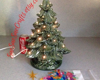 Ready to ship Twist lights NOT glued  Large lighted Ceramic Christmas Tree kit ......18 inches Tall #08052015