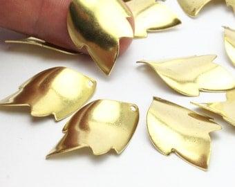 Brass Leaf Charm, 12 Raw Brass Leaf Charms (29x18mm) Bs 1337