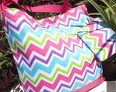 Custom CHEVRON tote bag with free personalization.  Velcro Closure. Bridesmaid tote bag.  Chevron beach bag.