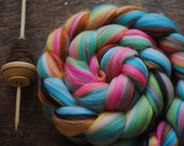 MARBLES - Custom Blend Merino and Tussah Silk Combed Top Wool Roving for Spinning or Felting - 4 oz