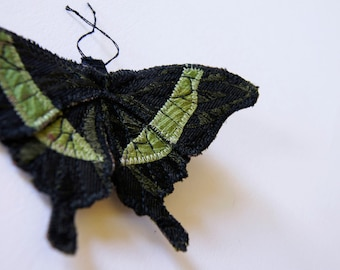 Emerald Swallowtail  Textile Statement Brooch Fiber Art Natural History Woodland Fashion Insect Jewelry