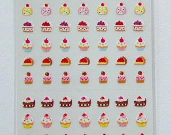 Cute Strawberry Cakes, Fruit Cakes, Chocolate Cakes, Cupcakes, Roll Cakes, Tarts Stickers From Japan