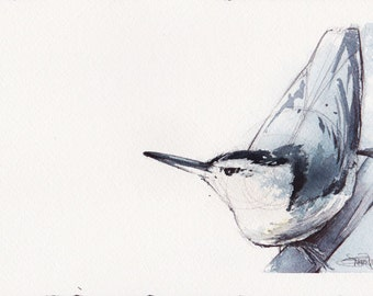 Nuthatch - ORIGINAL WATERCOLOR