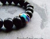 Store Closing, Boho Chic Jewelry-Boho Jewelry-Stretch Bracelet-Beaded Stretch Bracelet-Black Horn-Dichroic Glass Jewelry-Unisex