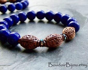 Boho Chic-Boho Jewelry-Stretch Bracelet-Stackable Bracelet-Copper Bracelet-Crystal Bracelet-Copper Leaves-Leaf Bracelet