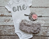 Baby Girl 1st Birthday Outfit Cake Smash Photography Props Silver One Bodysuit Grey Bloomers Pink Silver Headband