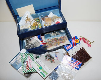 Vintage Beads and Bits in Rumpp Box with Key