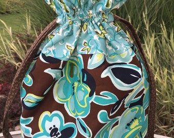 Fun Florals - Lined Drawstring Project Bag