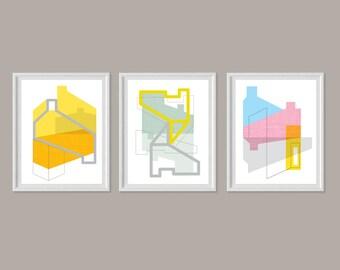 Art Print Set, Large Wall Art, Contemporary Art, Abstract Art Print, Mid Century Modern Art, Art Print Set of 3