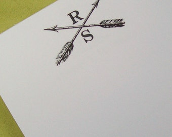 Personalized Crossed Arrows Notepad Archery Hunting Monogrammed Black White Arrow Note Pad Hostess Gift Vintage Art 75 Sheet Feather