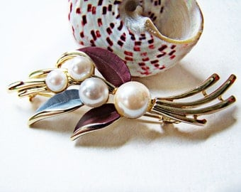 Vintage Jewelry Enamel Leaf and Faux Pearl Spray Brooch Red Wine and Powder Blue , stunning Nature Themed Jewelry 1960s