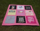 Custom Made Tee Shirt Quilt from 9 of your Own tshirts