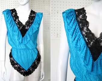 Sweet and Sexy Teal Blue with Black Lace Trim Nightie Lingerie Romper Jumper