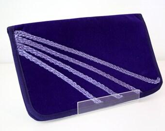 Purple Plush Velour Vintage Clutch Purse