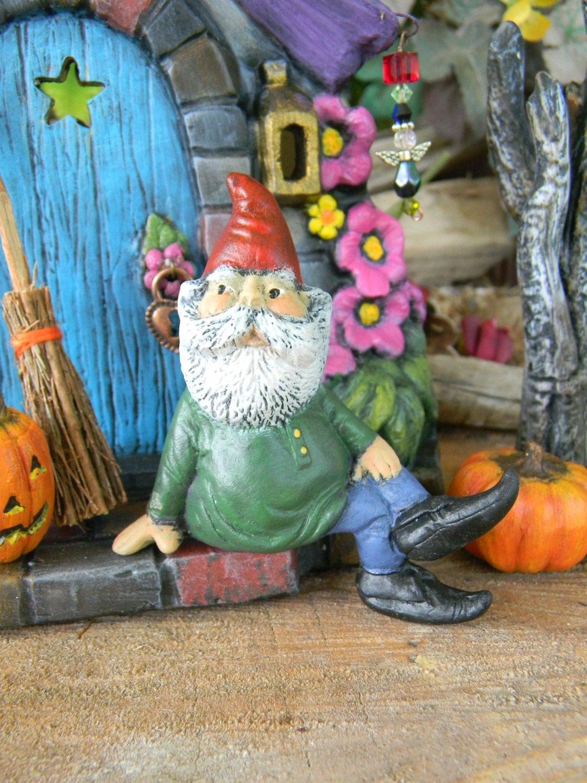 Miniature Garden Gnome Sitting Gnome By Enchantdmushroomland