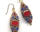 Nepal Earrings, Lapis Lazuli and Coral Inlay, LAST PAIR, 18K gold filled ear Wire, Nepal Jewelry by AnnaArt72
