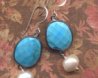 Turquoise and Pearls Sterling Earrings, Sleeping Beauty Turquoise earrings, Sterling Silver Turquoise Earrings, Handmade Jewelry by AnnaArt