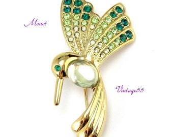 Brooch Monet Hummingbird Gold tone Rhinestone in Box