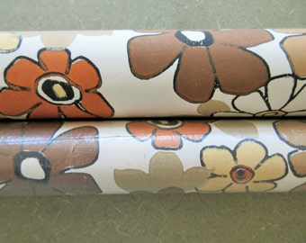 Vintage Wallpaper, Mod Flowers Wallpaper, Abstract Flowers, Brown and Tan, Groovy Wallpaper Rolls, TWO ROLLS, Wall Decor, Vintage Paper