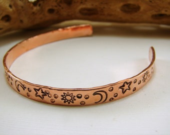 Pure Copper Cuff Hand Stamped Celestial Sun Moon and Stars .25 inch wide x 6 inch