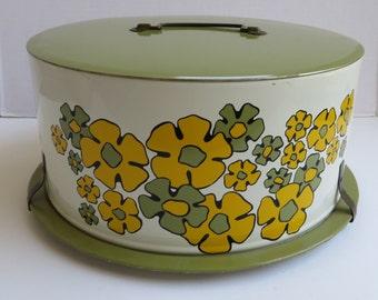 Vintage 1970's Yellow and Avocado Flowered Cake Tin