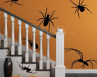 Set of 6 EXTRA Large Spider scary decals Halloween Rat wall stickers prank party decor home decorations vinyl wall decals