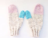 Colorful Knit Mittens, Wool Mittens, Knit Wool Mittens, Pink Mittens, Blue Mittens, Turquoise Mittens, Cream Mittens, Knit Tweed Mittens