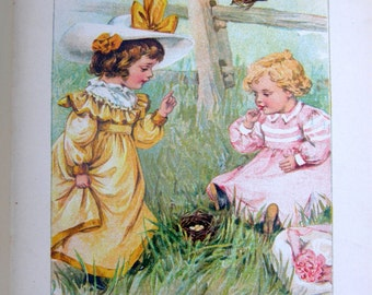 Antique Victorian Childrens Chromolitho HB Book: Tiny Tot Tales, Golden Reader Series, Illustrated by R. Hope