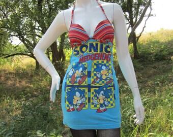 Sonic the Hedgehog t shirt bikini top