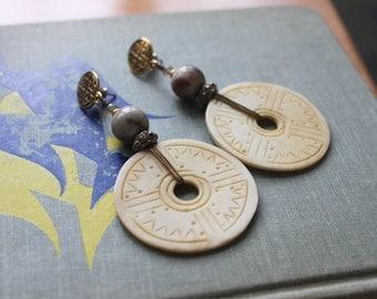 Vintage Earrings Carved Bone Dangle Boho Bohemian Pierced