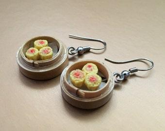Miniature shiu mai dangle earrings