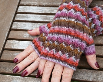 Fingerless Mittens - Fingerless Gloves -  Hand  Warmers - Wrist Warmers. Colourway Fresco. Hand knit. Val359. FREE SHIPPING